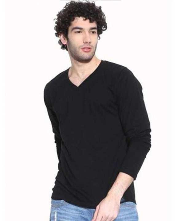 Black Cotton V-Neck Full Sleeves Tshirt For Men