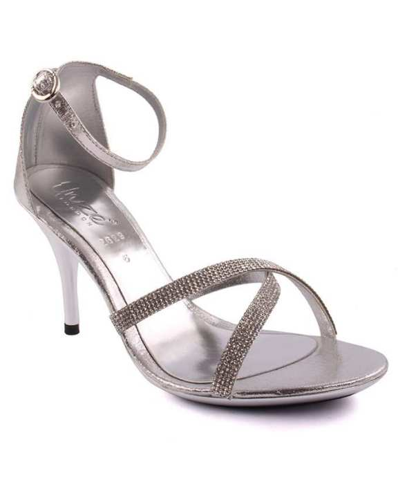 Silver PU Leather Embellished Heels for Women - L29217-Uk Size