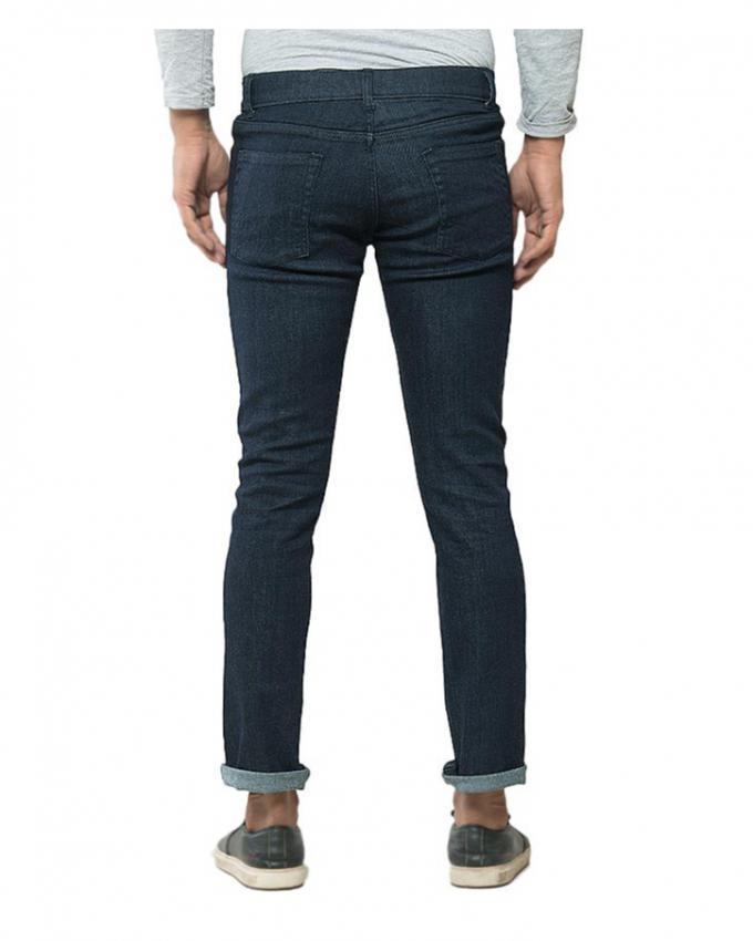 Dark Blue Denim Rinse Wash Tapered Jeans for Men