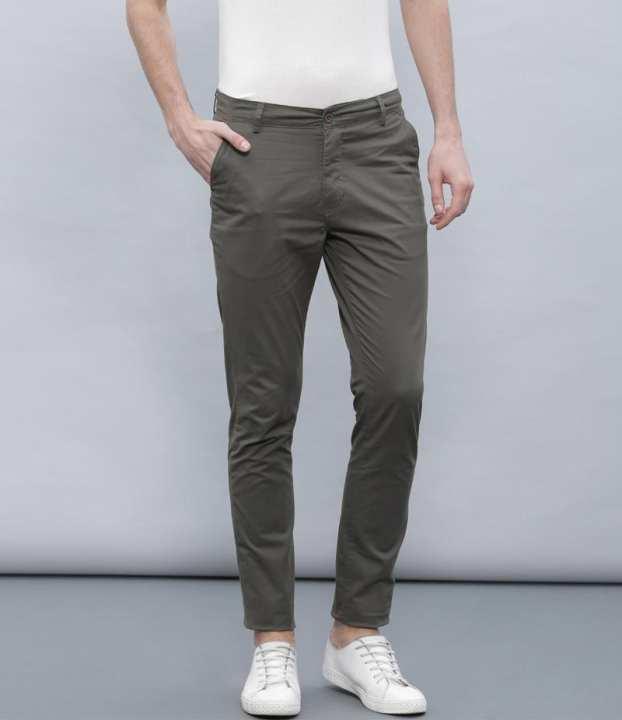 Men's Dark Grey Cotton Chino Twill Pants