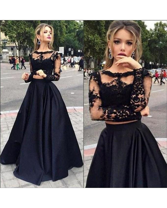 a7e781f2f0c015 Product details of Black Lace Top And Silk Skirt Crop Top Maxi Dress with  Pleated Skirt