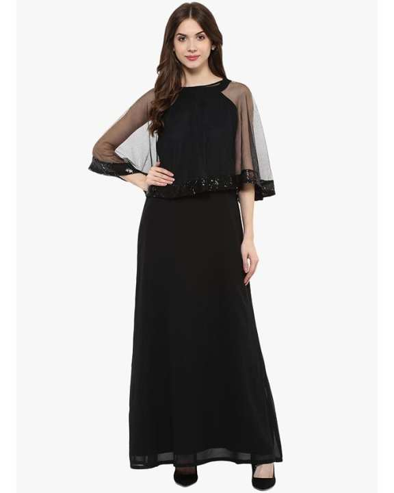 Black Chiffon Casual Cap Embellished Maxi Dress For Her