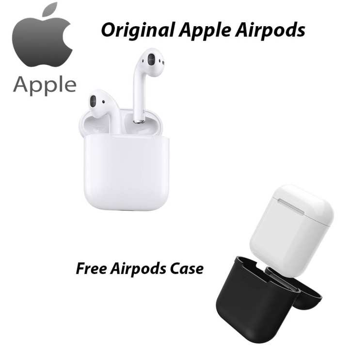Original Apple Airpods Bluetooth Headset/ Handsfree/ Earphones White With Free Case/ Cover Silicone Made Black