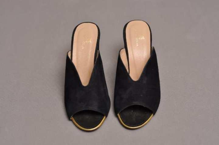 Black suede block heel peep toe slide