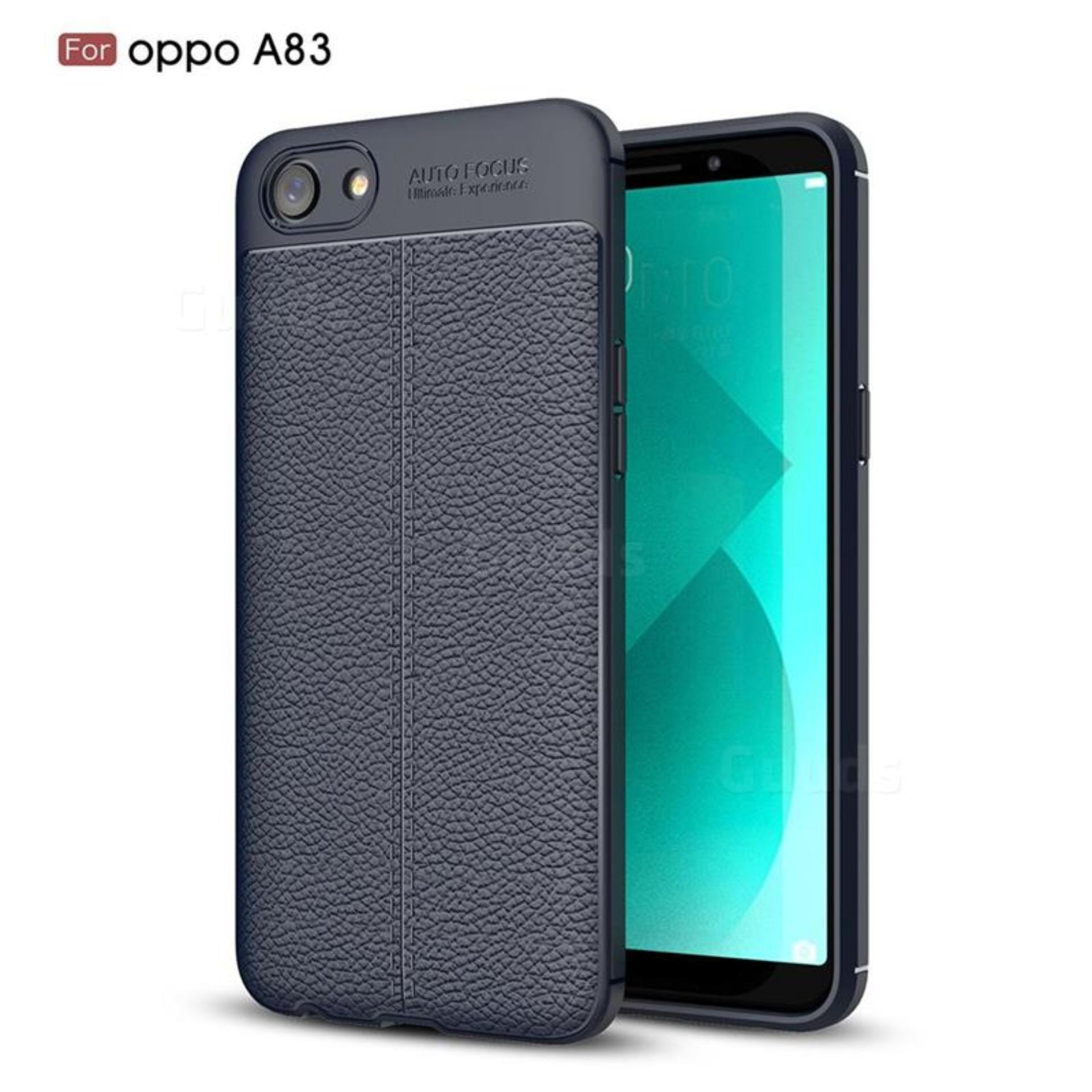 new style d3d58 068b9 Luxury Auto Focus Litchi Texture Silicone TPU Back Cover for Oppo A83 Navy  Blue