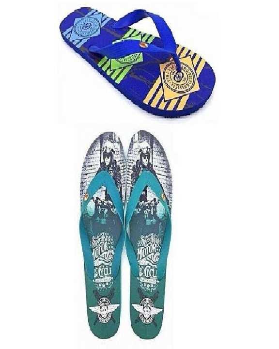 Pack Of 2 - Blue & Green Rubber Slippers For Men