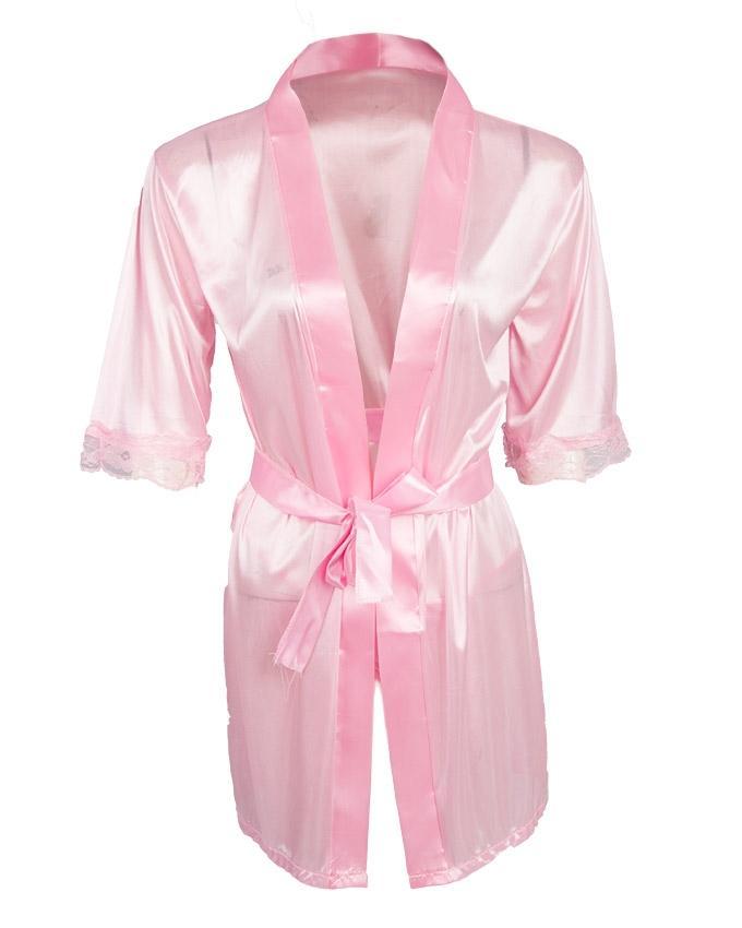 Pink Net & Silk Nighty for Women - Ubb079