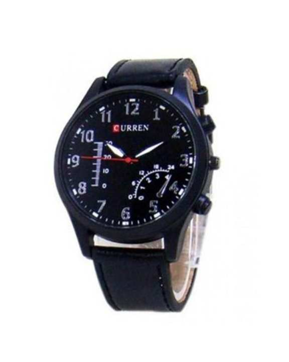 Black Leather Straps Watch For Men