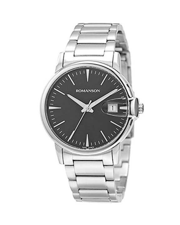 Romanson Black Stainless Steel Quartz Wrist Watch TM4227 MW BK