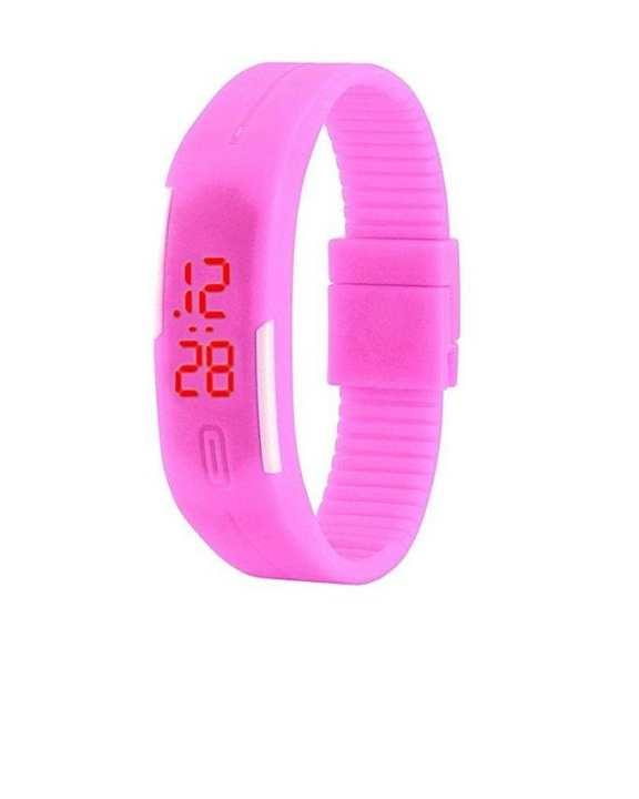 Rubber LED Bracelet Watch -pink