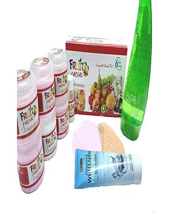 Pack Of 3 - 6 Step Fruit Facial Kit 70Ml + Aloe Vera Gel 270Ml + Blackseed Facewash 100Ml + Facial Puff