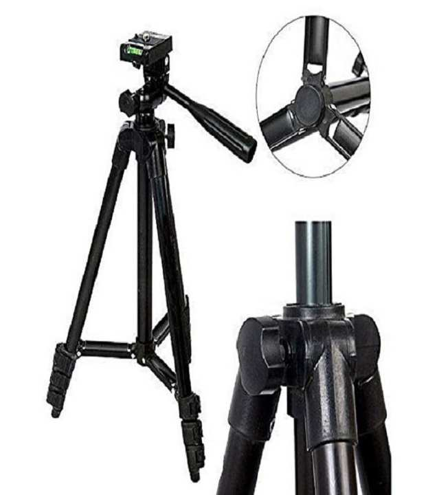 3120 Tripod Stand With Mobile Holder - Black Color