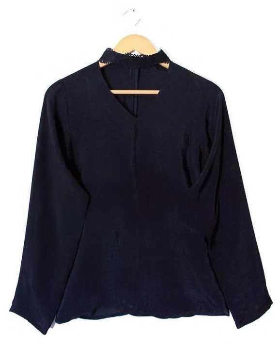 Malai Crepe Stitched Black Western Shirts
