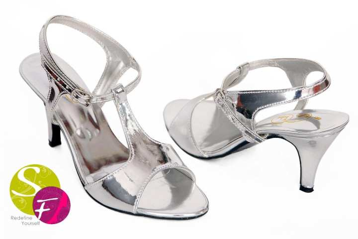 Silver heels for woman