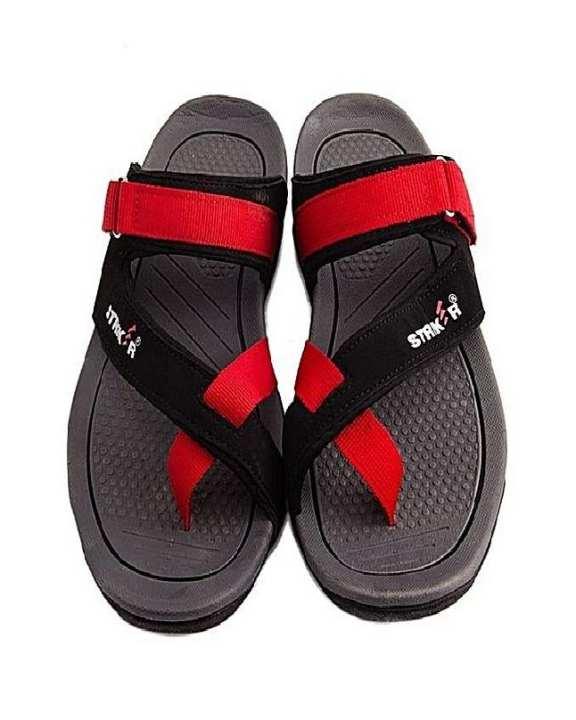 Red Black Rubber Slippers For Men