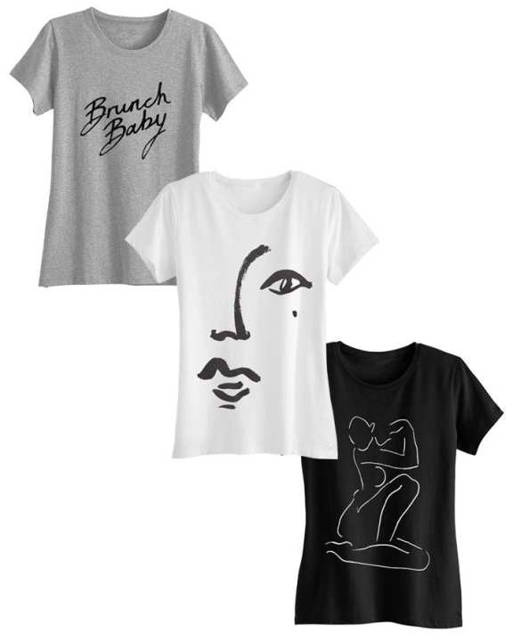 Pack of 3 - Drawing Printed T-Shirt For Women
