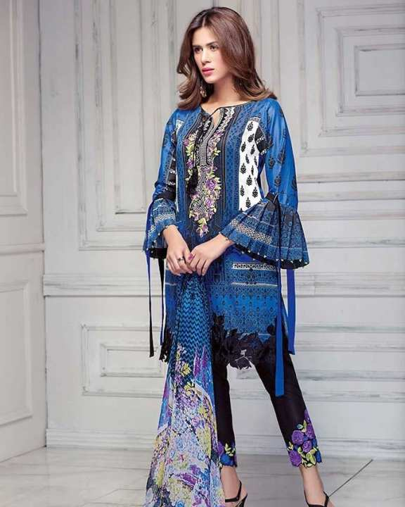 Gul Ahmed - Blue Chantilly with Embroidered Neckline, Bunches & Lace 3PC-Unstitched -  CT-249-158466