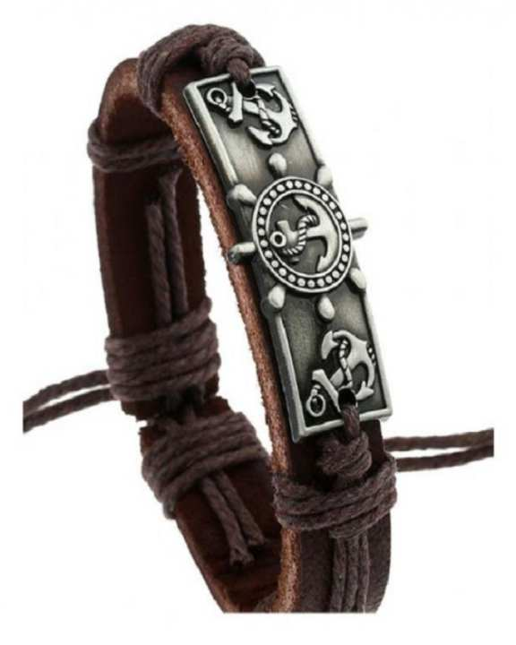 Chocolate Brown PU Leather & Alloy Hot Anchor Leather Bracelet