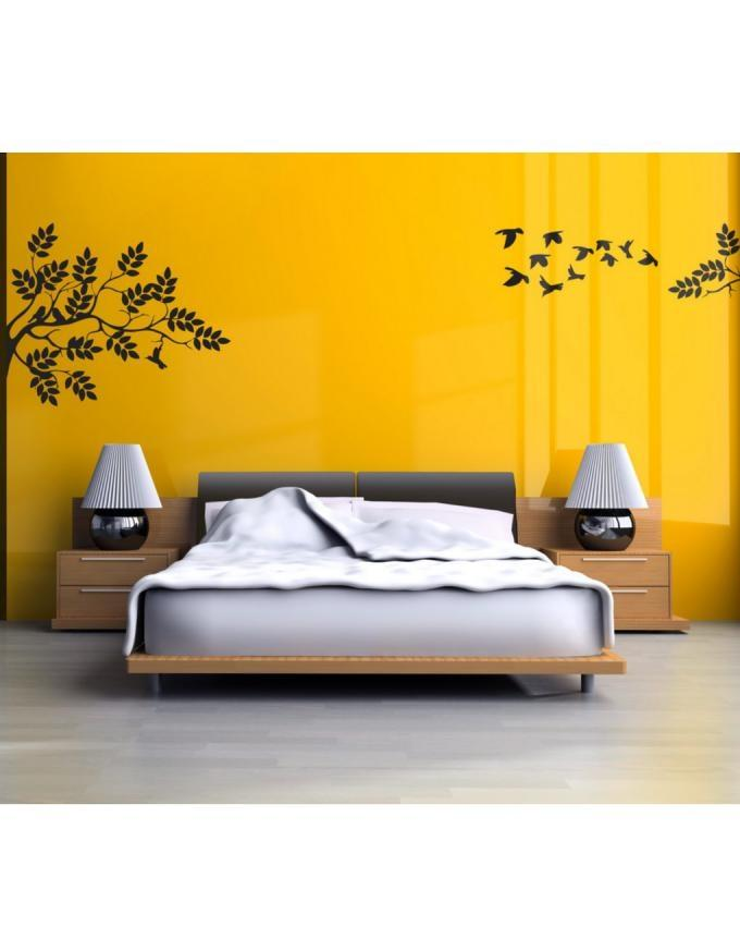 WD0001 - Wall Decal of Flying Birds with Tree Branches - Black