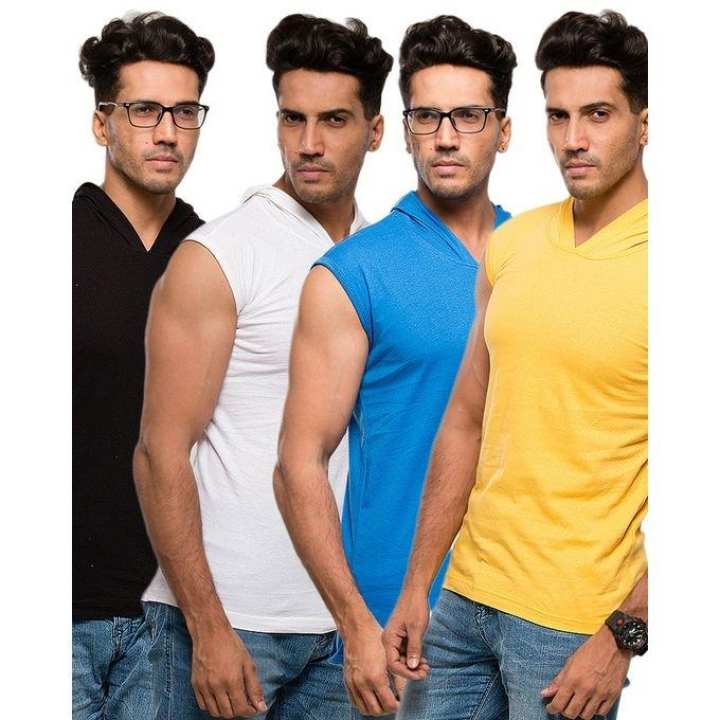 Pack of 4 - Multicolor Cotton Sleeveless Hoodie Tshirts for Men