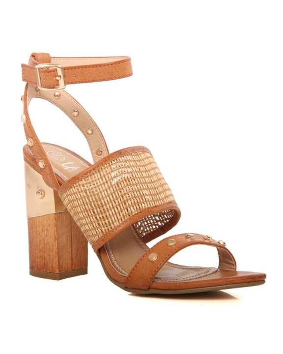 """Brown Women """"ESSRA"""" block heel sandals L29372"""