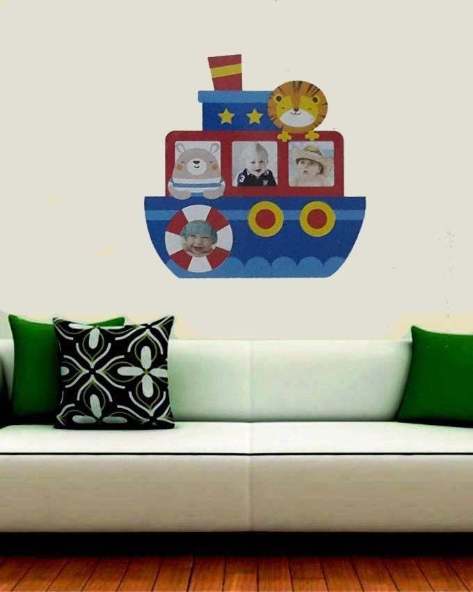 3 Photo Frame Boat Wall Sticker - Multicolor