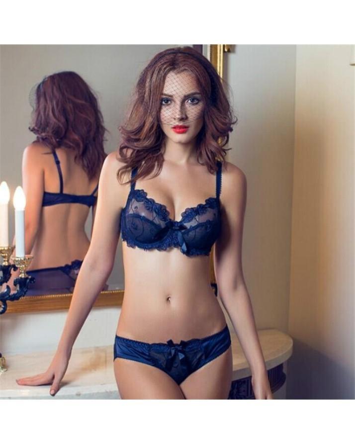 cc970b8e97 Blue French Style Female Embroidery Underwear Bra Panty Set