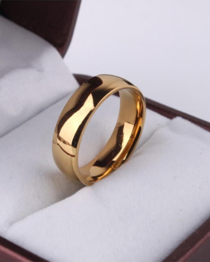 Golden Round Stainless Steel Ring For Men