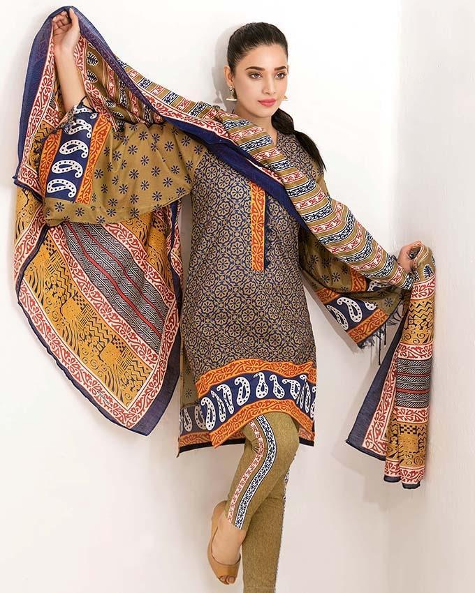 bcf9b34774 GA - Gul Ahmed - Mustard Printed Silk Linen Dupatta with Printed Printed  Lawn 3PC-