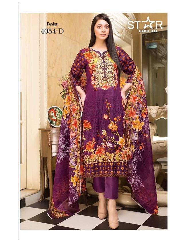 da3e435e79 Purple Lawn Unstitched Suit For Women - 3 Piece - 4054-D