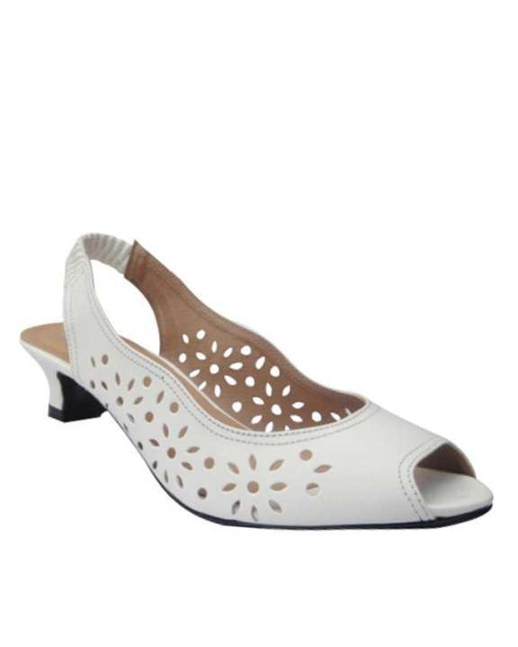 White Synthetic Leather Sandals - 7066-White