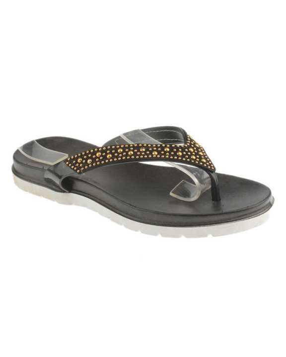 Black Imported Glittery Slippers for Women - MT48