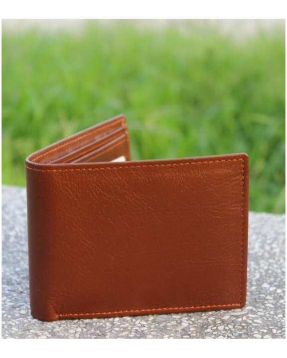Tan Brown Leather Tri-fold Wallet for Men