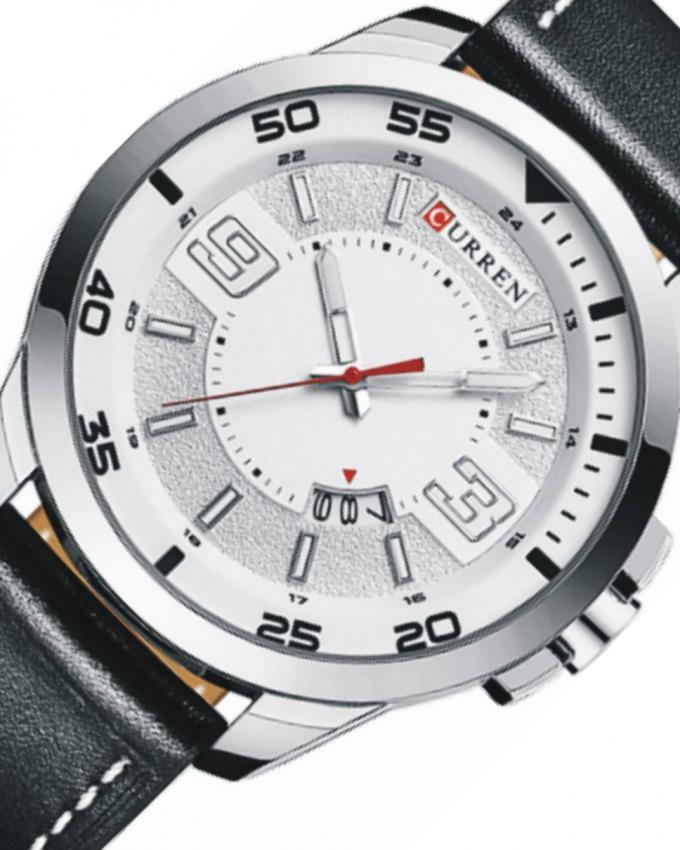 White Leather Analog Wristwatch For Men - 8213