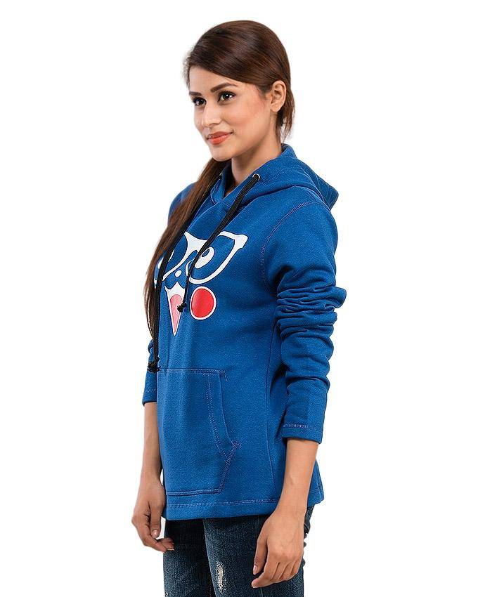 Royal Blue Fleece Nerdy Cat Hoodie For Women