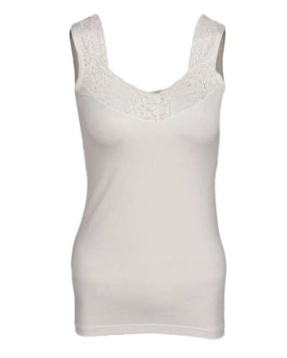 Camisole Collection Off-White Cotton Lace Floret Camisole for Women
