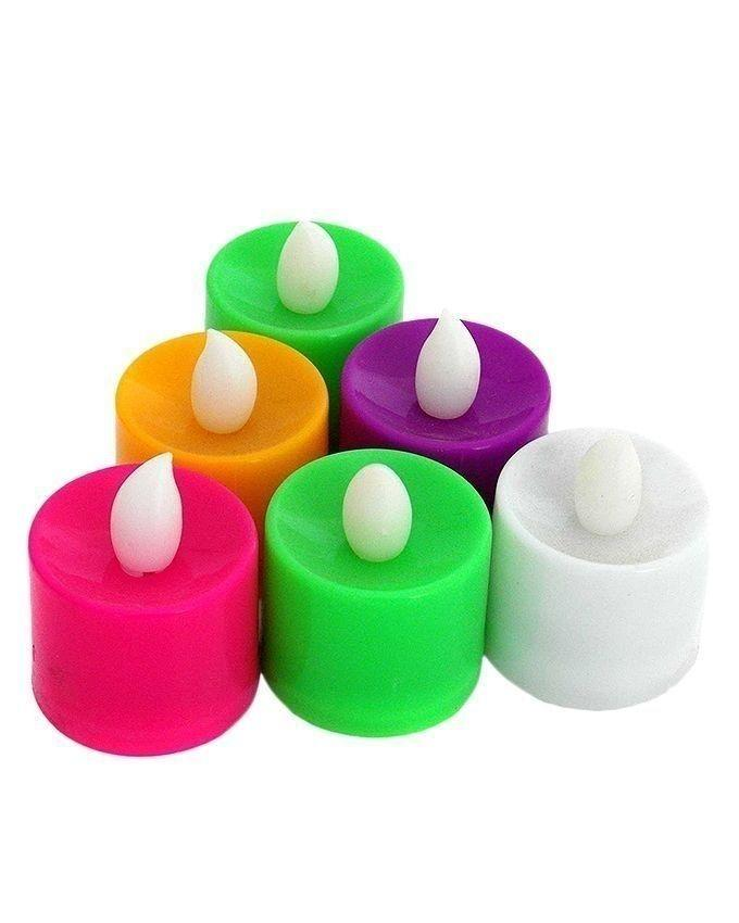 Pack of 6 - LED Tea Light Candles - Multicolor