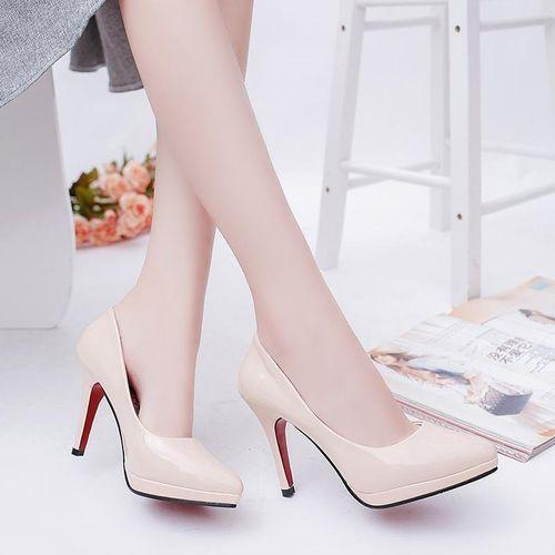 e796dc6d669 10cm Pointed Toe Formal Thin Heels Pumps Women Shallow Sex High Heels  Patent Leather Wedding Shoes With Platforms (Beige)  Buy Online at Best  Prices in ...