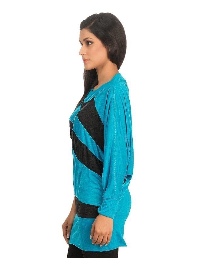 Blue & Black Viscose Butterfly Top For Women