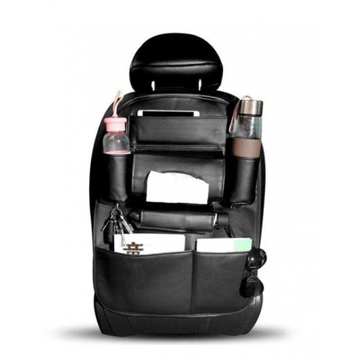 Back Seat Organizer In Leather - Black