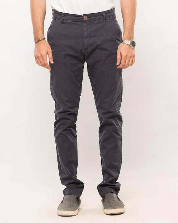 Navy-Cotton-Stretch Men'S Chino-Slim Fit