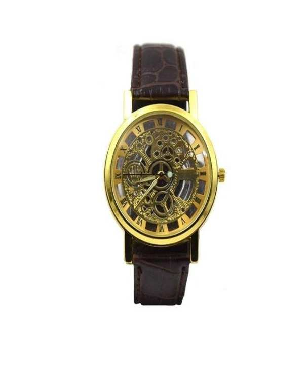 Brown Leather Analog Watch For Men