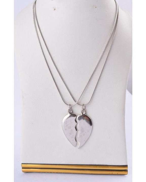 Plain Broken Heart With Chain - Silver - Jewellery