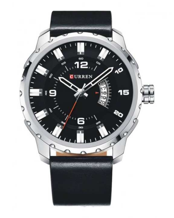 Black Leather Wristwatch with Date For Men - 8245