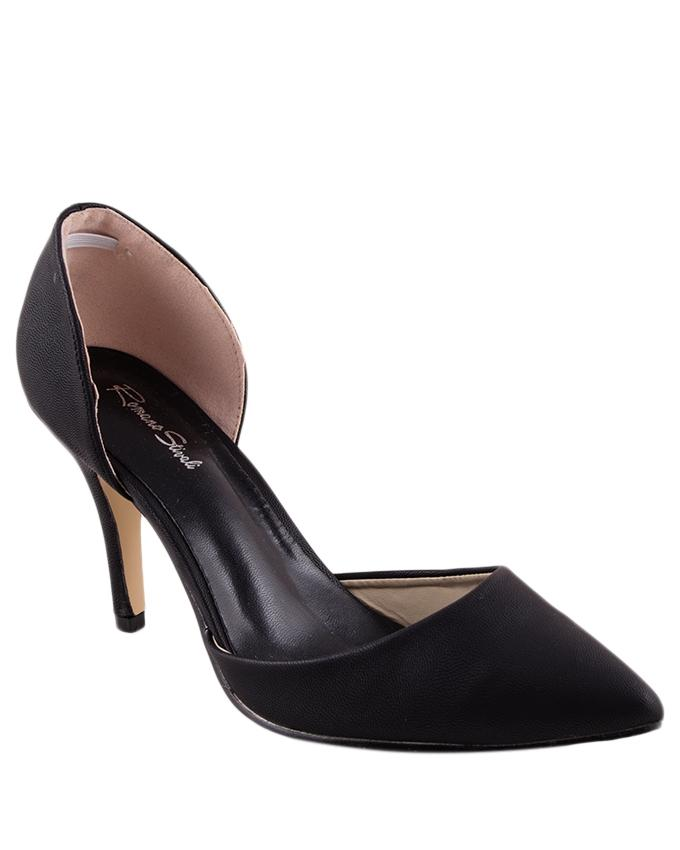 Blk-Blk Synthetic Leather Rscreed Heel