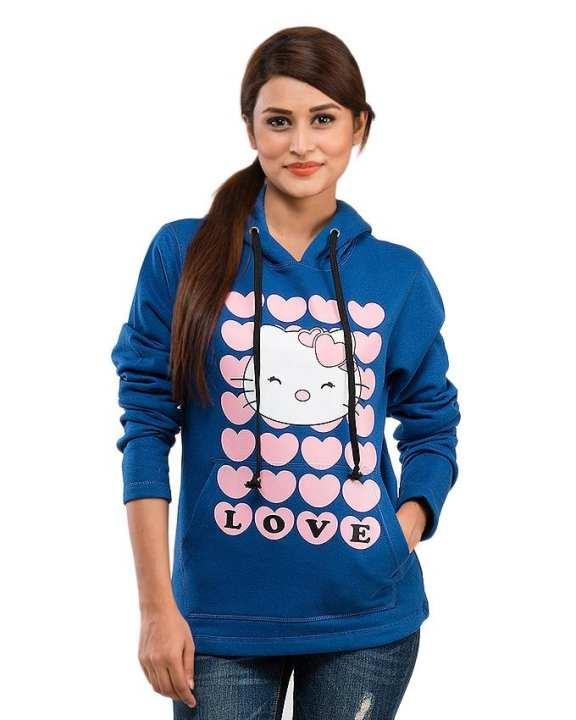 Royal Blue Fleece Hearty Cat Hoodie For Women