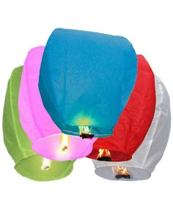 Pack Of 5 - Large Size Sky Lantern - Multicolour