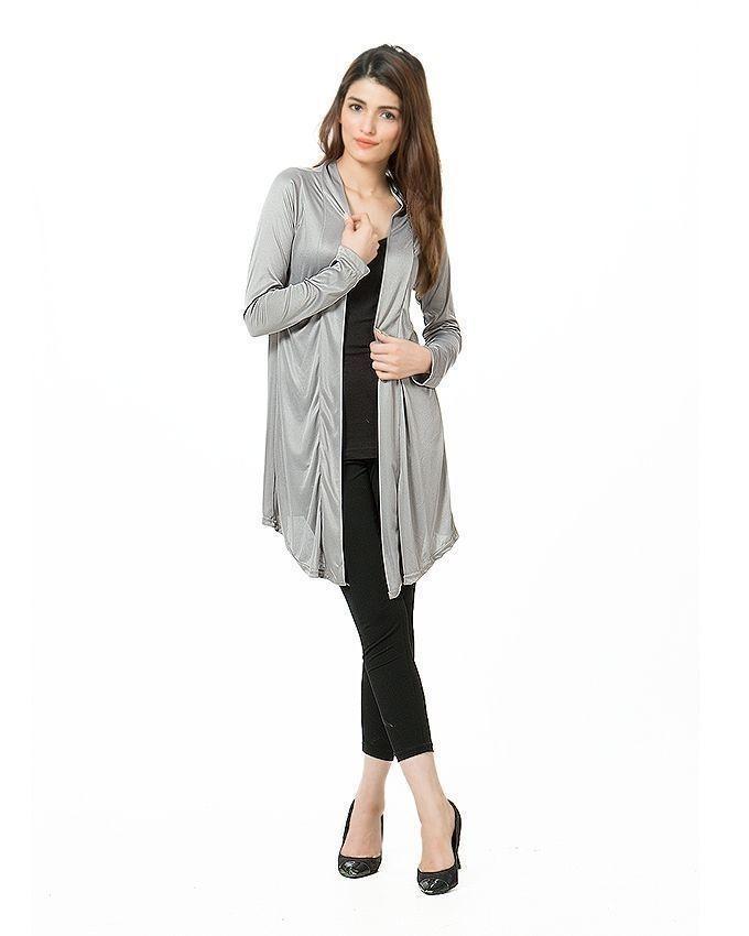 Grey Viscose Shrug For Women