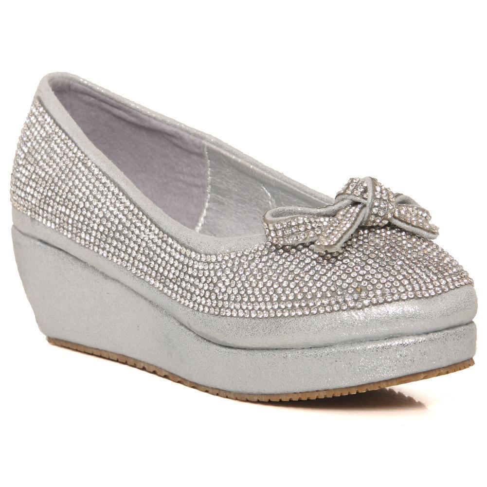Silver Girls 'Isabella' Embellished Evening Shoes CS11458