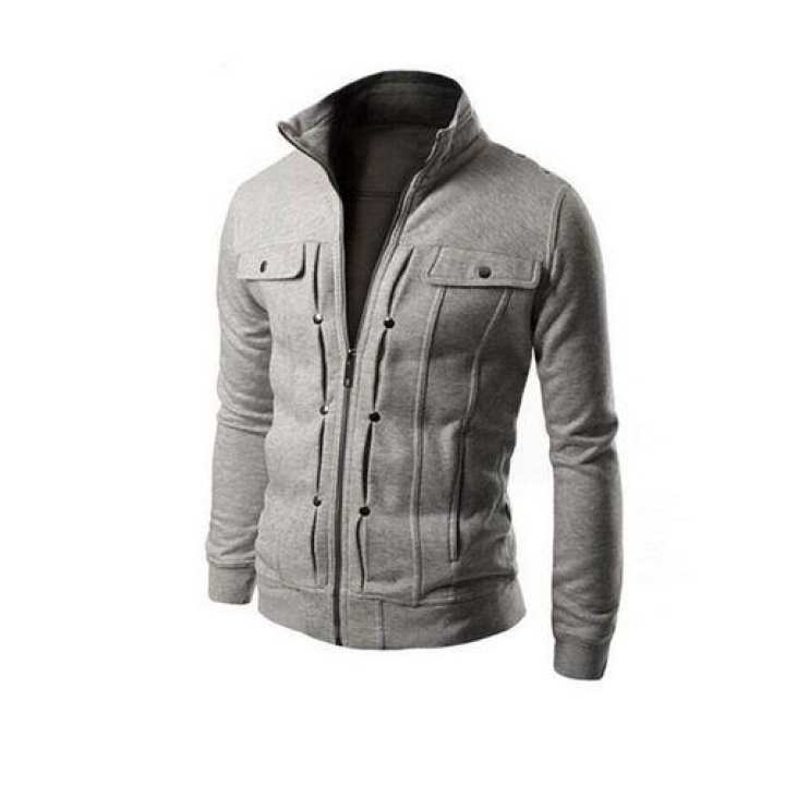 Gray Mexican jacket for men with front Pocket